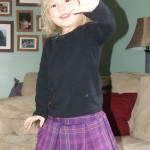 Purple plaid pleated skirt